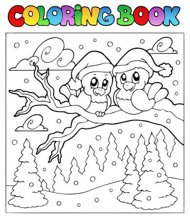Coloring book two winter birds - vector illustration. Vector