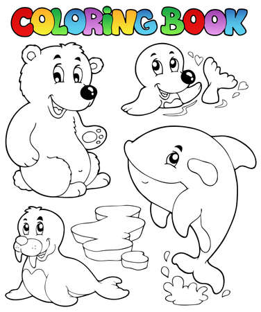 Coloring book wintertime animals 1 - vector illustration. Vector