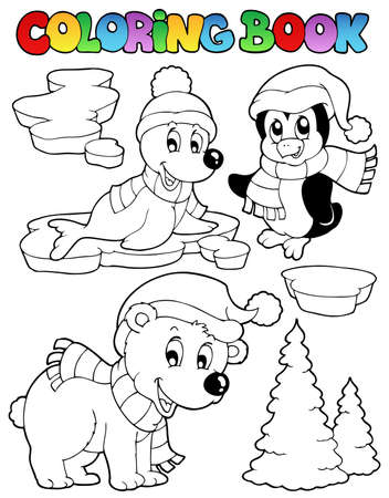 Coloring book wintertime animals 2 - vector illustration.