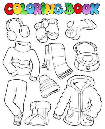 trousers: Coloring book winter apparel 1 - vector illustration. Illustration
