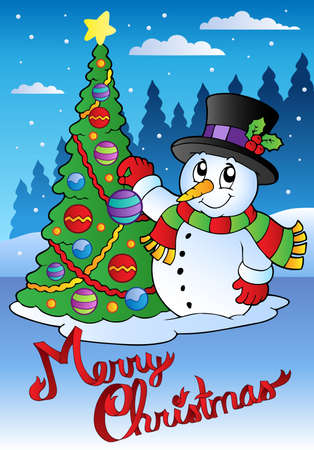 snowing: Merry Christmas card with snowman 1 - vector illustration.