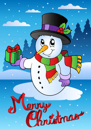 Merry Christmas card with snowman 2 - vector illustration. Vector