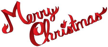 Merry Christmas ribbon sign - vector illustration.