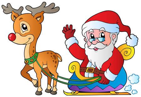 papa noel en trineo: Papá Noel con trineo y ciervos - ilustración vectorial. Vectores