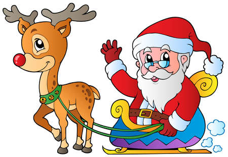 Santa Claus with sledge and deer - vector illustration.