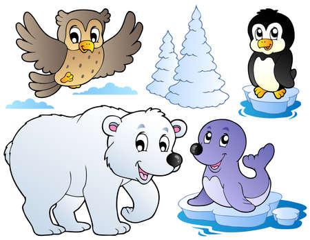 gla�on: Divers animaux de l'hiver heureux - illustration vectorielle.