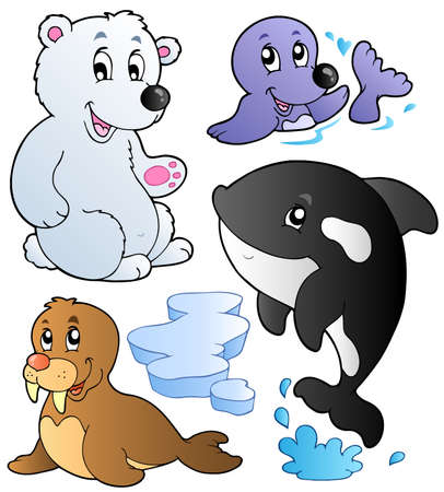 aquatic: Wintertime animals collection 1 - vector illustration.
