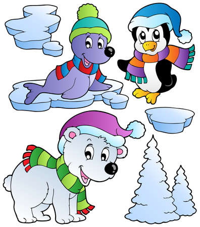 Wintertime animals collection 2 - vector illustration. Stock Vector - 10912675