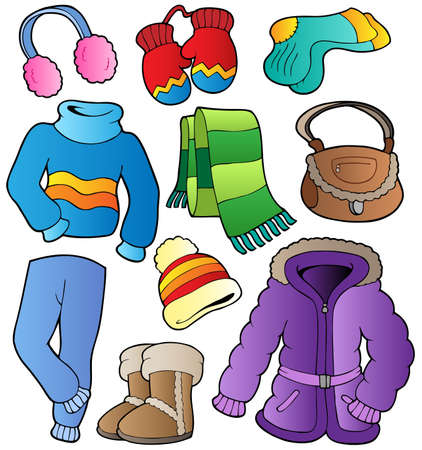 winter clothing: Winter apparel collection 1 - vector illustration.