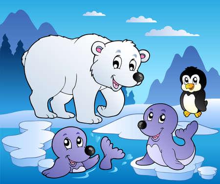oso caricatura: Escena de invierno con varios animales 1 - ilustraci�n vectorial.