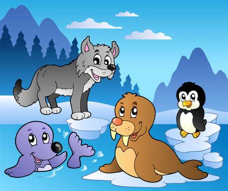 polar: Winter scene with various animals 2 - vector illustration. Illustration