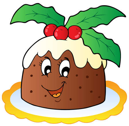 christmas cake: Cartoon Christmas pudding - vector illustration.