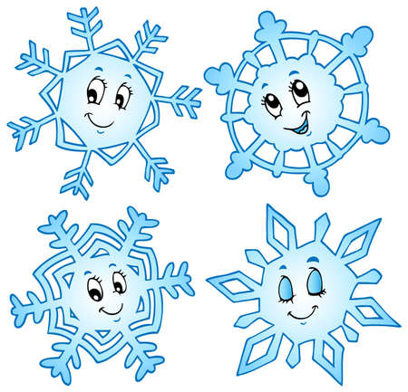 wintry weather: Cartoon snowflakes collection 1 - vector illustration.