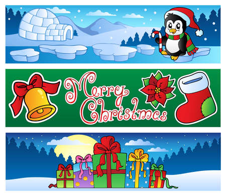 Penguins: Christmas banners collection 2 - vector illustration. Illustration