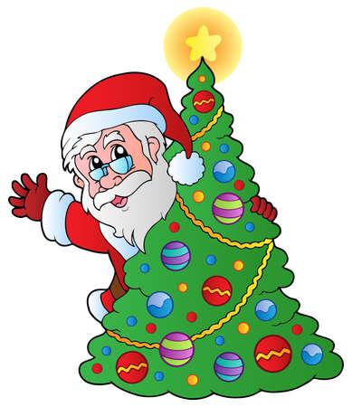 winter hat: Christmas Santa Claus 4 - vector illustration. Illustration