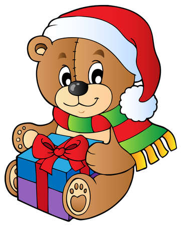 Christmas teddy bear with gift - vector illustration. Vector