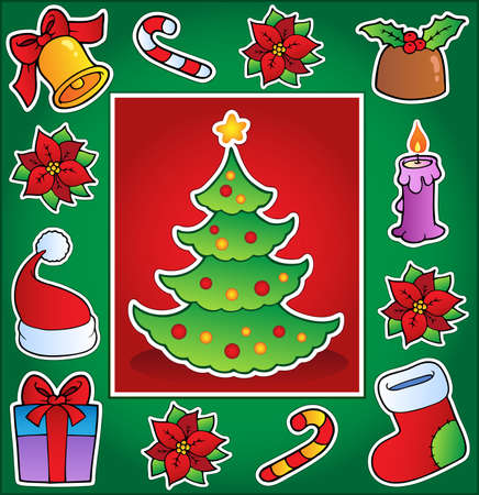 rings on a tree: Christmas theme greeting card 1 - vector illustration. Illustration
