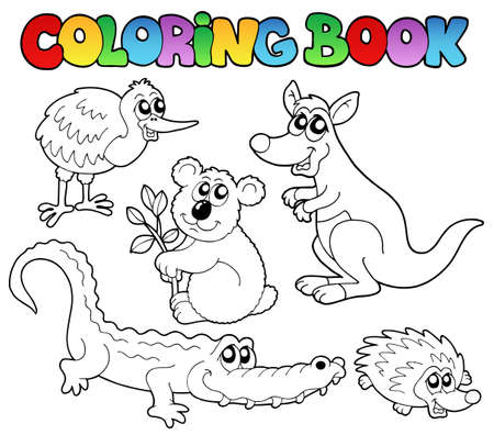 livre � colorier: Coloriage animaux australiens livre 1 - illustration vectorielle.