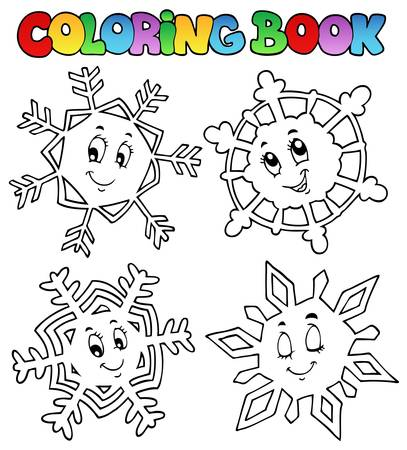 wintry weather: Coloring book cartoon snowflakes 1 - vector illustration.