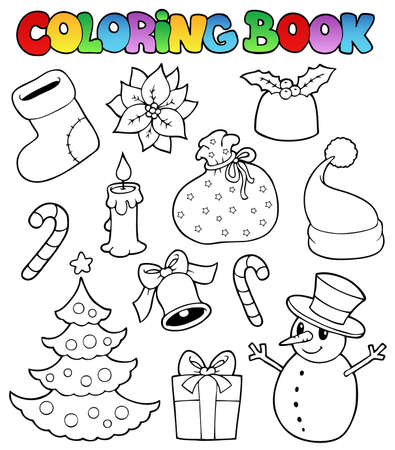 socks: Coloring book Christmas images 1 - vector illustration. Illustration