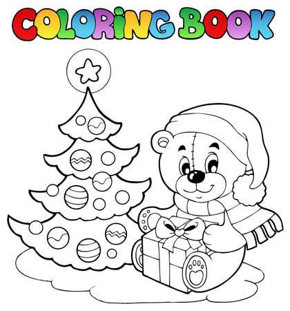 Coloring book Christmas teddy bear - vector illustration. Vector