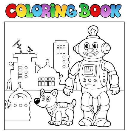 Coloring book robot theme 1 - vector illustration. Vector