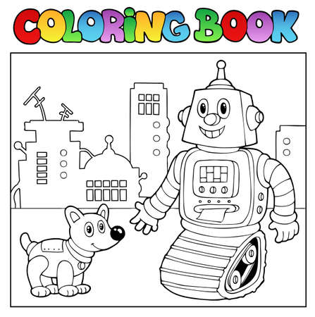 Coloring book robot theme 2 - vector illustration. Vector