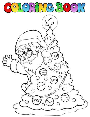 coloring book: Coloring book Santa Claus theme 5 - vector illustration.