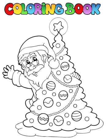 christmas theme: Coloring book Santa Claus theme 5 - vector illustration.