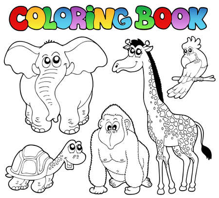 Coloring book tropical animals 2 - vector illustration. Vector