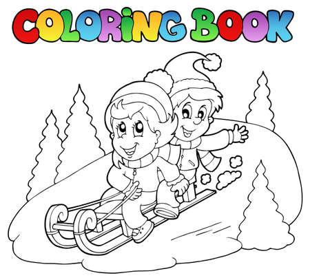 Coloring book two kids on sledge - vector illustration. Vector