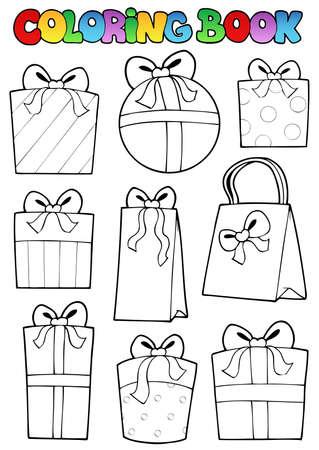 dessin au trait: Coloriage livre de cadeaux divers - illustration vectorielle.
