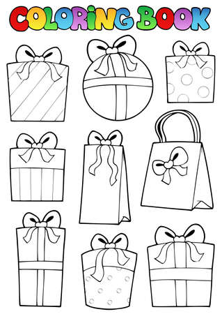 outline drawing: Coloring book various gifts - vector illustration.