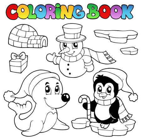 Coloring book wintertime animals 3 - vector illustration. Vector