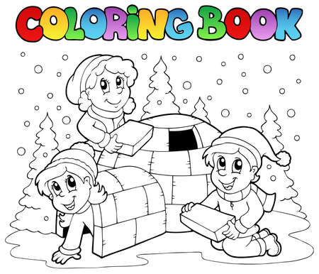 winter scene: Coloring book winter scene 1 - vector illustration.