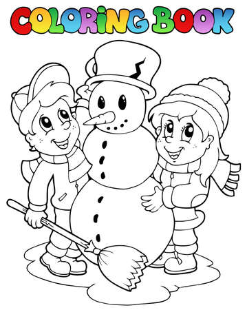 frosty the snowman: Coloring book winter scene 2 - vector illustration.
