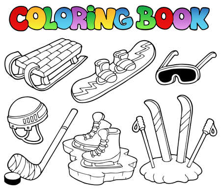 Coloring book winter sports gear - vector illustration. Vector