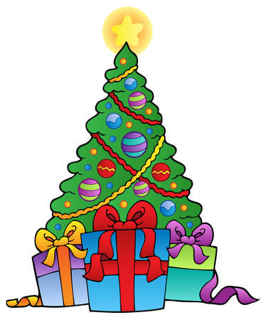 Decorated Christmas tree with gifts - vector illustration. Ilustracja