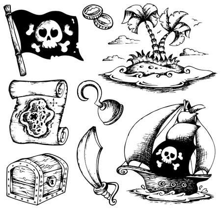 island clipart: Drawings with pirate theme 1 - vector illustration.