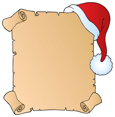 christmas scroll: Letter with Christmas hat 1 - vector illustration. Illustration