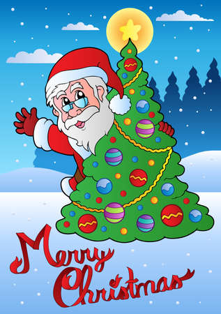 Merry Christmas card with Santa 1 - vector illustration. Stock Vector - 11124960