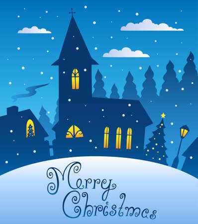 Merry Christmas evening scene 1 - vector illustration. Vector
