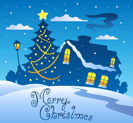 christmas theme: Merry Christmas evening scene 2 - vector illustration. Illustration