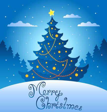 winter wish: Merry Christmas evening scene 3 - vector illustration. Illustration