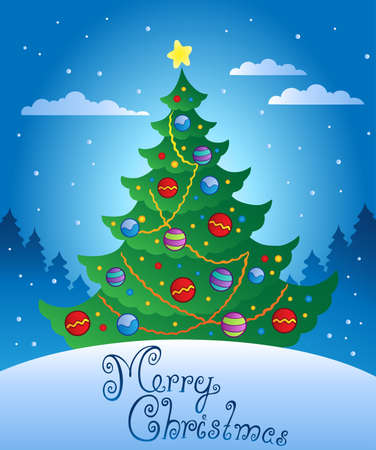 Merry Christmas evening scene 4 - vector illustration.