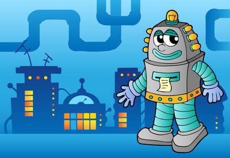 factory automation: Robot theme image 3 - vector illustration. Illustration