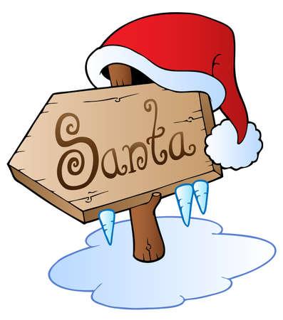 sopel lodu: Boże Narodzenie Santa znak z kapelusza - ilustracji wektorowych.