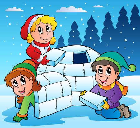 winter fun: Scène van de winter met jonge geitjes 1 - vector illustratie.