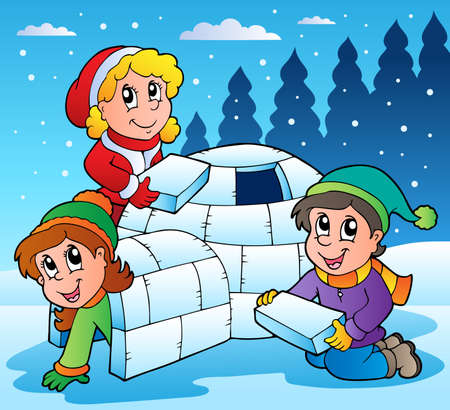 igloo: Winter scene with kids 1 - vector illustration. Illustration