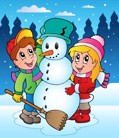 Winter scene with kids 2 - vector illustration. Illustration